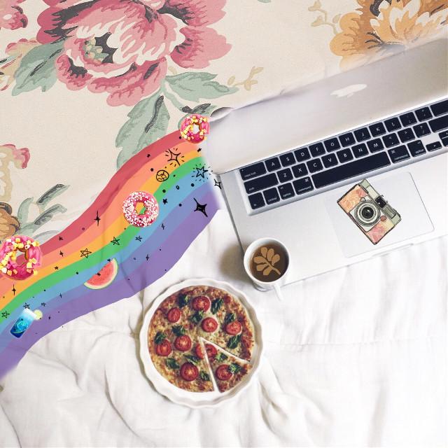 #FreeToEdit  #rainbow#pizza#laptop#comfort