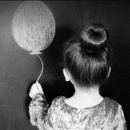 baby balloon blackandwhite cute oldphoto