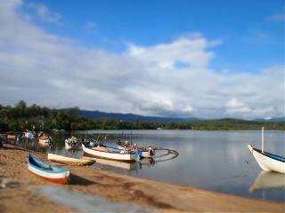 sun beach fishingboat goa india