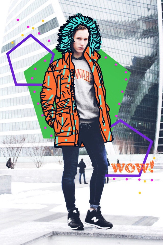 #FreeToEdit #popart #shapes #bright #colorful #wow #jacket #people #dots