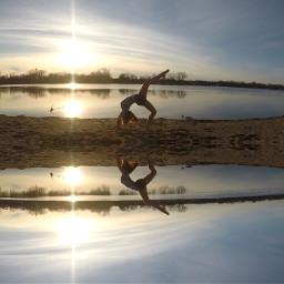 gymnastics sunset beach lake nature freetoedit