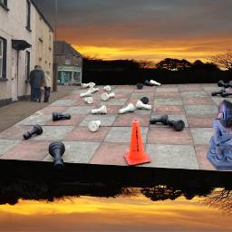 photography chessboard chesspieces sunset streetscene