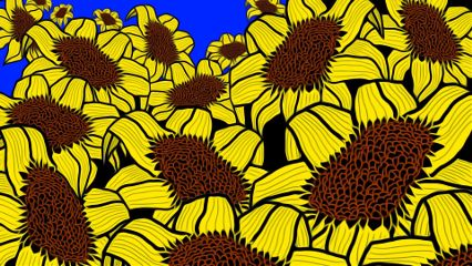 drawing sunflowers california oilpaintingeffect repeatimage freetoedit