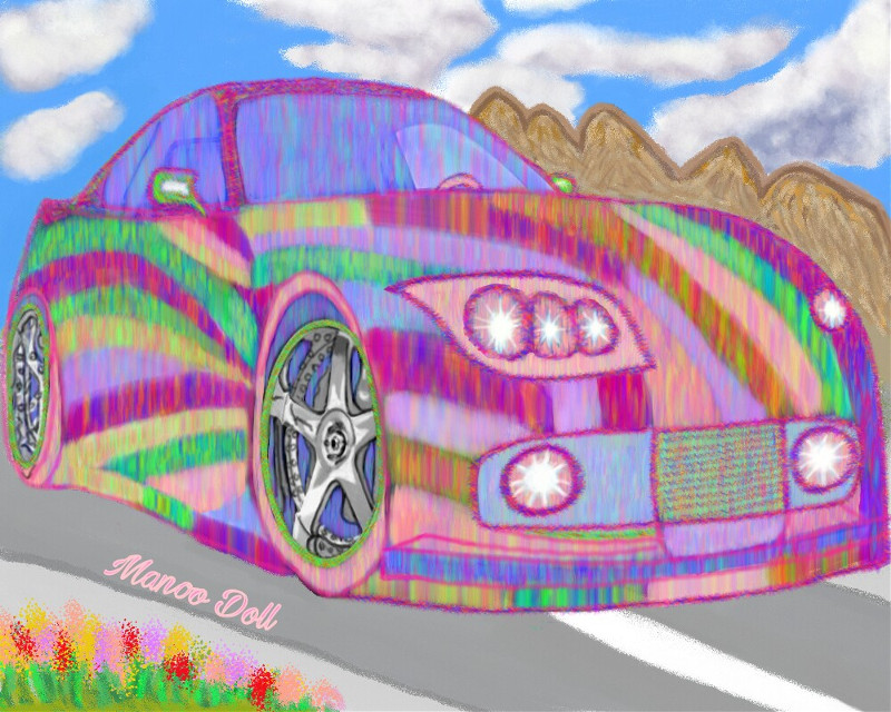 #wdpcar# colorful #  3D car # fantastic # multi color # my imaginginery car # beautiful # scenery # cloud #  road # my drawing # used pa draw tool # no stamp # no stickers # no clip art #  step by step layer diagram of my drawing uploaded in my gallery